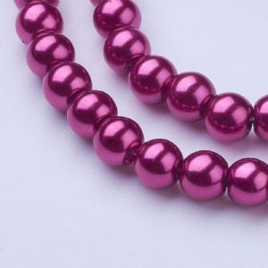 Glass Pearl Beads Medium Violet Red 6mm
